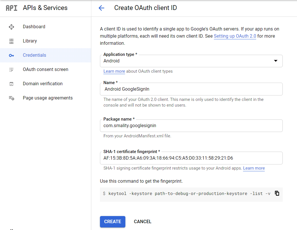 Android OAuth client ID