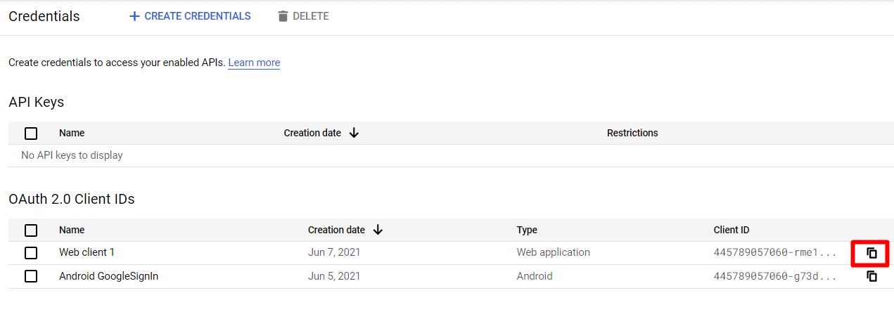 Client ID copy